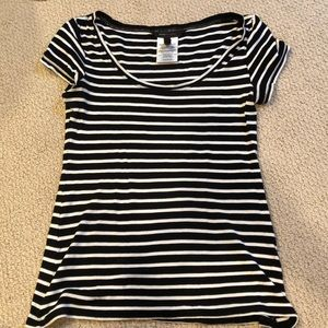 BCBGMaxAzria black and white striped T Shirt